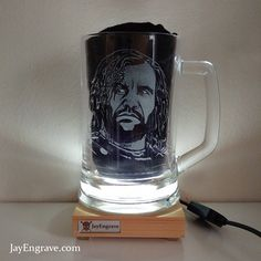 This heavy duty glass tankard has been hand engraving with actor Rory McCann as Sandor Clegane aka The Hound from the hit tv series Game Of Thrones. Hound Game Of Thrones, Game Of Thrones Fans, Glass Engraving, Hand Engraving, Rory Mccann, Initials, Birthday Gifts, How To Make, Birthday Presents