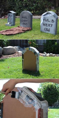 30 Quick and Easy DIY Halloween Crafts You can Try in 2019 Cardboard Tombstones Homemade Halloween Decorations, Easy Halloween Crafts, Outdoor Halloween, Diy Halloween Decorations, Halloween Graveyard, Diy Halloween Tombstones, Halloween Costumes, Helloween Party, Instagram