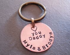 Hand Stamped Personalized Keychain for Dad Grandpa Father's Day Christmas Gift Idea on Etsy, $15.00