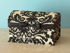 Wedding card box but decorated in ivory, light yellow, and chocolate brown