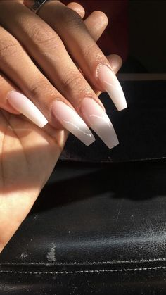 "If you're unfamiliar with nail trends and you hear the words ""coffin nails,"" what comes to mind? It's not nails with coffins drawn on them. It's long nails with a square tip, and the look has. Gorgeous Nails, Pretty Nails, Acrylic Nail Designs, Acrylic Nails, Acrylics, Hair And Nails, My Nails, Dope Nails, Nail Inspo"