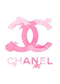 "Chanel Logo, Fashion illustration and watercolor art print, titled ""Pink Chanel"" by Koma Art by KomaArt on Etsy https://www.etsy.com/listing/206826739/chanel-logo-fashion-illustration-and"