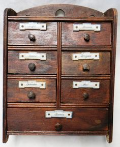 Antique Wood Spice Apothecary Cabinet Chest 9 Drawer Porcelain  Label Peg Pulls  #NaivePrimitive #Unknown