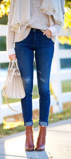 #fall #fashion / denim + cream