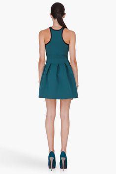 T BY ALEXANDER WANG Green Pleated Neoprene Dress