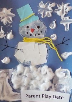 Winter time Parent Play Date project. Parent Play Date classes are a chance for parents to spend time with their preschooler trying art projects without making a mess at home!