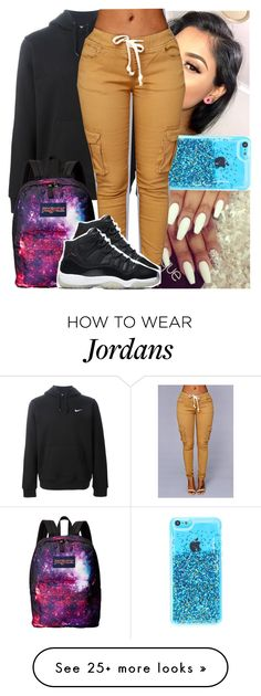 """Goodnight"" by naebreezy on Polyvore featuring NIKE, JanSport, women's clothing, women, female, woman, misses and juniors"