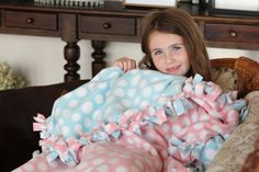 tutorial: No-Sew Tied Fleece Blankets  {fun project for kids to make + great gift, too}