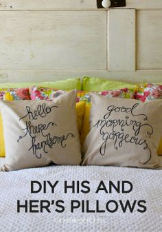 Make these whimsical DIY his and her's pillows – perfect gift for newlyweds!