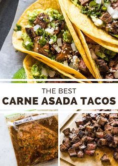 Carne Asada Tacos - Isabel Eats - - Easy carne asada tacos made from juicy and tender marinated flank steak or skirt steak and topped with onions, cotija cheese and fresh cilantro. Flank Steak Tacos, Skirt Steak Tacos, Marinated Flank Steak, Flank Steak Recipes, Beef Recipes, Cooking Recipes, Yummy Recipes, Hibachi Recipes, Griddle Recipes