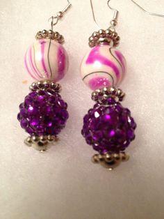 Pink and Purple EarringsJewelrypink earringspurple by CraftyJackys