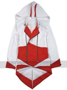 Red and White Assassins Creed Jacket Coat for sale at Affordable Price $99.99 Connor Kenway Ezio Hoodie. #whiteassassinscreedhoodie #redandwhitehoodie #denimhoodie #assassinscreed #connorkenway #ezio #mensjacket