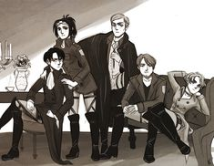 Nanaba, Mike, Erwin, Hanji, Levi - Veterans Attack On Titan #drinkYourFuckingMilk