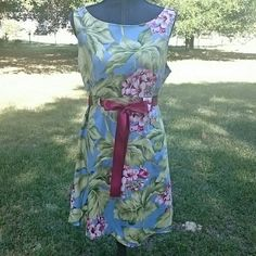 Sleeveless Summer Dress Cute sleeveless dress and blue shades of green, fuchsia, pink. Round neck back support. Fully lined. Cotton spandex blend so there's a little stretch to it. Ribbon waistband tie. yuka resort  Dresses