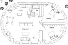 interior 2 bedroom 1 bath Footprint: x Description: This charming curved cottage is styled after homes from a bygone era when rugged timbers supp Round House Plans, Small House Plans, House Floor Plans, Cob House Plans, The Plan, How To Plan, Natural Building, Green Building, Building A House