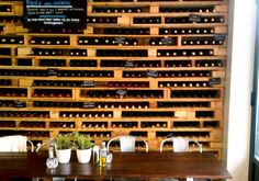 Wood Pallet Wine Rack- different ways to use pallets for wine storage.  Very cool!
