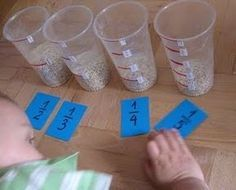 Make measuring cups. Fill using rice, sand, water, etc. order the fractions from biggest to smallest. Fractions Équivalentes, 3rd Grade Fractions, Teaching Fractions, 4th Grade Math, Teaching Math, Comparing Fractions, Fraction Activities, Math Resources, Math Activities