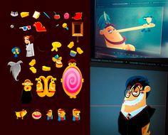"""Diseño y animación para la obra de teatro """" Aladino y el enredo de los genios"""" de Unahoramenos producciones."""