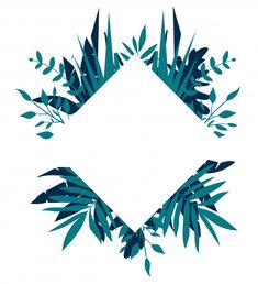 Rhombus tropical frame, template with place for text Premium Vector Framed Wallpaper, Flower Background Wallpaper, Flower Backgrounds, Instagram Frame, Instagram Blog, Line Art Flowers, Flower Art, Tropical Frames, Flower Graphic Design