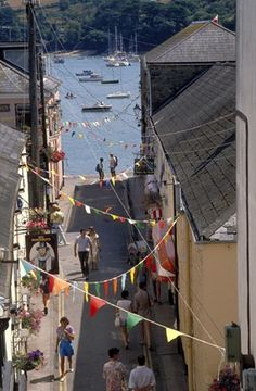 Salcombe streets lined with bunting.