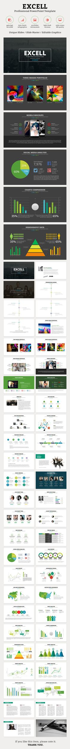 Excell PowerPoint Template is suitable for any Business Presentations. #ExcellPowerPoint #1studio #GraphicRiver