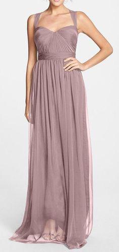 Shirred Chiffon Gown