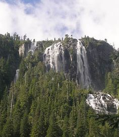The Della Falls Trail near Port Alberni leads hikers from the head of Great  Central Lake to the base of the highest waterfall in Canada  (440 metres high, 1443 feet), a cascade from Della Lake.