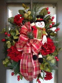 Christmas, Snowman Floral arrangement Door Wreath/Swag