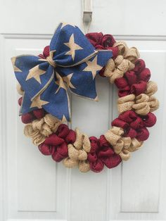 Americana wreath Americana burlap wreath Patriotic wreath