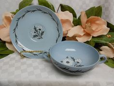 Wedgwood England China Dinnerware Aster In Blue.  Cream soup and saucer set #Wedgwood