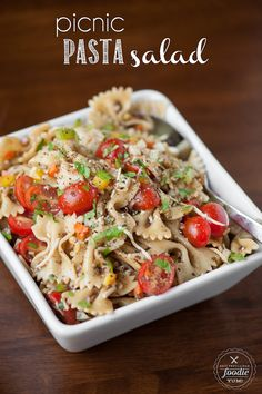 Picnic Pasta Salad - Nothing says summer like a delicious picnic salad, and nothing goes better with this salad than a perfectly grilled hot dog.