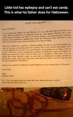 This father wants his child to experience Halloween like any other, despite his medical issue, so this ensued.