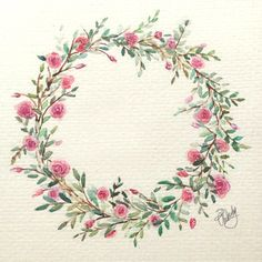 Full version of my first flower wreath as requested by @inkstruckstudio :):) #makeinkstruck #flower #wreath #art #jeallasartwork #rose #aquarelle #watercolor #painting #fun #firstattempt #needmoreexcercise #happy #artist #nofilter by thejecinda