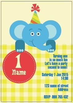 BFY_006 Invite, Invitations, Turning One, Baby First Birthday, First Birthdays, Rsvp, Monkey, Party, Fun