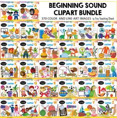 phonics- beginning sound clipart bundle - black and white images included