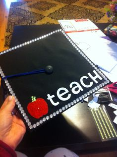my teacher graduation cap! Teacher Graduation Cap, Graduation Cap Designs, Graduation Cap Decoration, College Graduation, Graduation Gifts, Grad Cap, Graduation 2015, Graduation Ideas, Education Major
