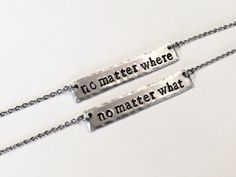 "Best Friend ""no matter where"", ""no matter what"" Necklaces - Sister BFF Stamped Jewelry - Arrows - Bridal Party Bridesmaid Gift - Forever by TheThriftyGifter on Etsy https://www.etsy.com/listing/268781325/best-friend-no-matter-where-no-matter"