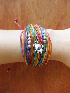 Bracelet Handmade Rainbow Colored Wax String in Thailand Fair Trade Adjustable Size (B004-RAIN). $3.99, via Etsy.
