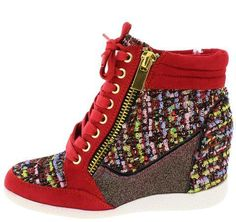 Red Lace Up Zipper Sneaker Boot