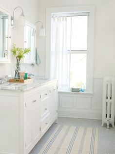 Just the water, this color is cool and refreshing. It looks calm, relaxing and clean paired with crisp whites and even a few pops of sunshiney yellow. This would be perfect for a half bath but your guests would love this bit of serenity when they stay over too. You may just want to accent a white bathroom with some aqua towels and shower curtain for an even cleaner appeal.