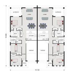Parklands 273 - Duplex, Home Designs in Queensland 3 Bedroom Home Floor Plans, Duplex Floor Plans, Three Bedroom House Plan, Home Design Floor Plans, House Floor Plans, Apartment Plans, Duplex Apartment, Townhouse, Bedroom Apartment