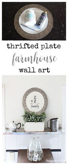 A fun easy Thrifted Plate Farmhouse Wall Art to make Farmhouse Living Room Furniture, Farmhouse Wall Art, Farmhouse Decor, Farmhouse Style, Farmhouse Windows, Farmhouse Plans, Vintage Farmhouse, Cottage Style, Modern Farmhouse
