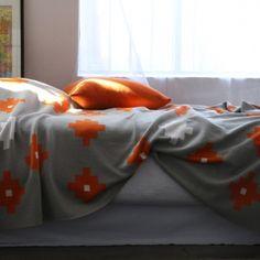 Cotton Tetris knit blanket  . clementine . $320