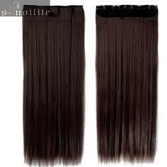 #4 Medium Brown 23 inches 3/4 Full head Clip in Hair Extensions Straight hair Extension 5clips ins Synthetic Heat Resistant Hair