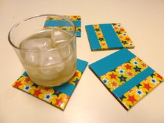 duct tape coasters  kids can use cardboard  nice handmade gift for teacher  makeiteasycrafts.blogspot.com