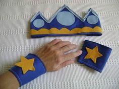 Kit príncipe - coroa e bracelete feltro