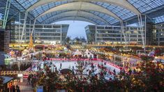 Munich Airport's Christmas Market Has Two Rinks and Almost 500 Real Trees - Condé Nast Traveler German Markets, Catania, Skates, Munich, Iceland, Germany, Trees, Europe, India