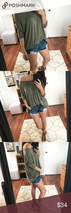 🆕 Becca Bamboo 3/4 Sleeve Top - Olive Moss My best selling Bamboo top, now in a 3/4 sleeve design!  This is hands down my favorite style.  Perfect to wear off the shoulder or on.  Super soft and comfy, you will literally want one in every color.  Modeling size small.  Wearing with my Bowie Distressed Denim Shorts.  Available in Dark Purple, Black, Barely Mauve, Dark Heather Gray, & Olive Moss. 95% BAMBOO, 5 % Spandex. Tops Blouses