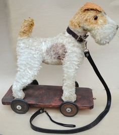 Germany Fox Airedale Terrier Dog Pull Toy c1950s Wood Comp Mohair Plush w Leash