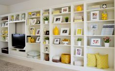 Inexpensive Shelving Ideas....do this in black or REALLY dark wood tone.